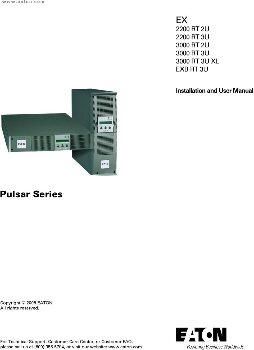 3U Installation and User Manual Pulsar Series Copyright 2008 EATON All