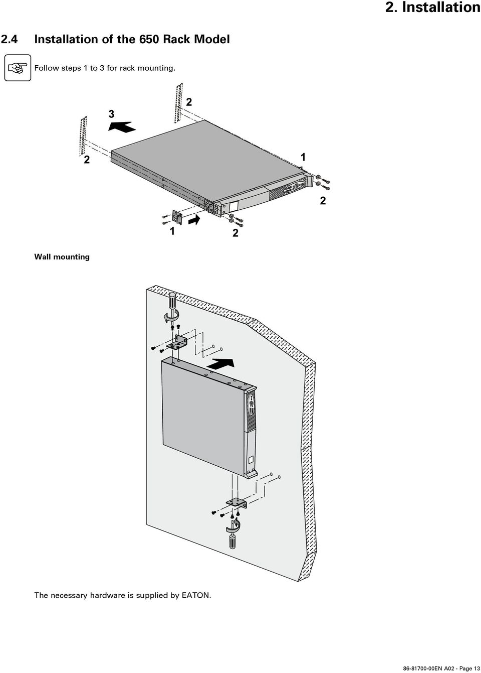 steps 1 to 3 for rack mounting.
