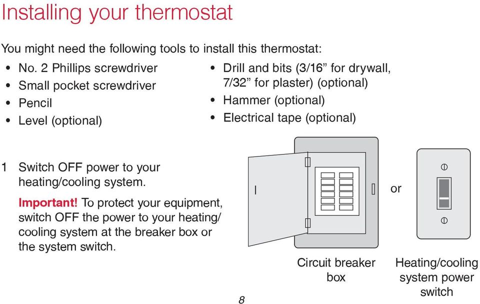 Hammer (optional) Electrical tape (optional) 1 Switch OFF power to your heating/cooling system. Important!