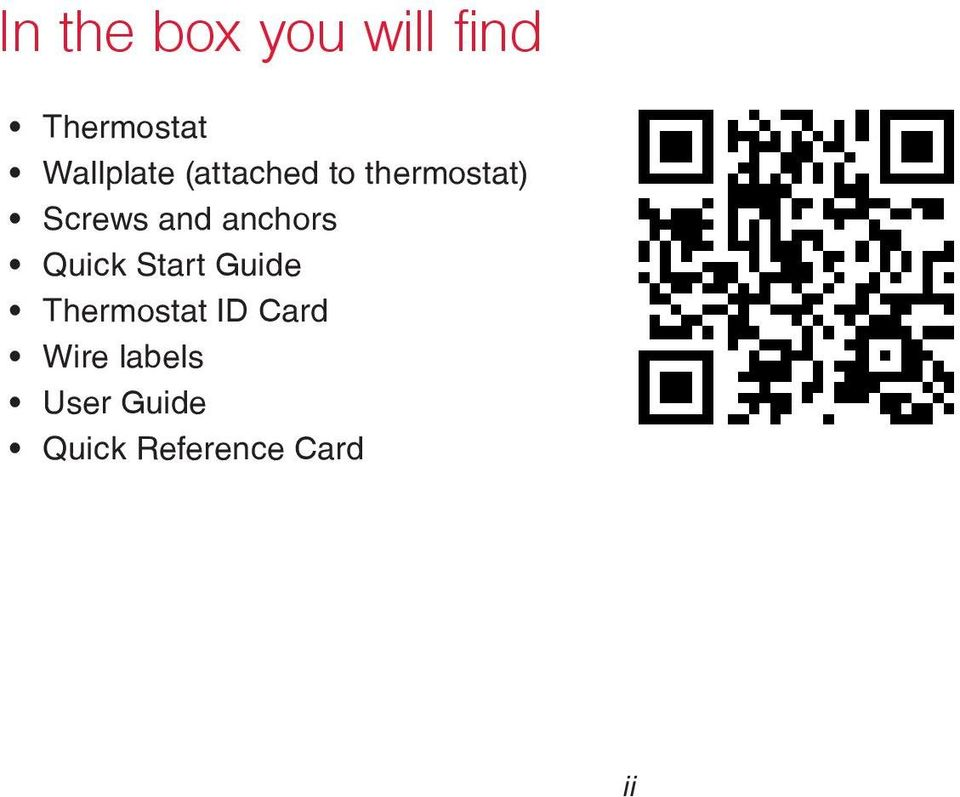 Quick Start Guide Thermostat ID Card Wire