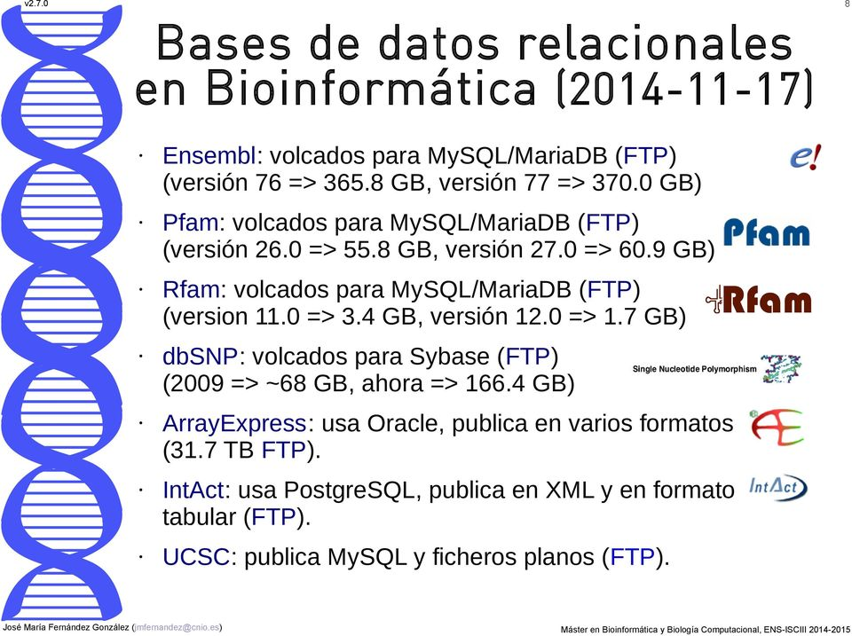 9 GB) Rfam: volcados para MySQL/MariaDB (FTP) (version 11.0 => 3.4 GB, versión 12.0 => 1.