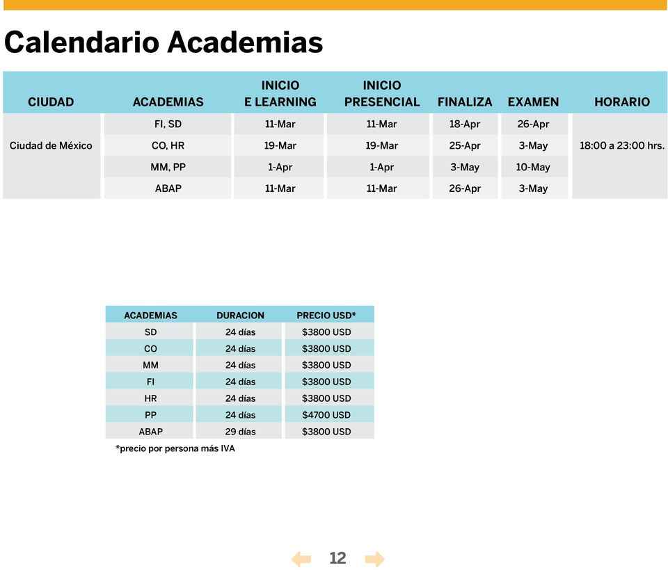 MM, PP 1-Apr 1-Apr 3-May 10-May ABAP 11-Mar 11-Mar 26-Apr 3-May ACADEMIAS DURACION PRECIO USD* SD 24 días $3800 USD CO