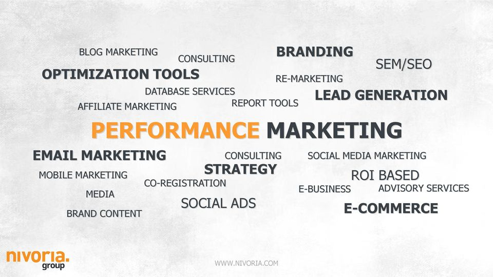 PERFORMANCE MARKETING EMAIL MARKETING BRAND CONTENT CONSULTING CO-REGISTRATION