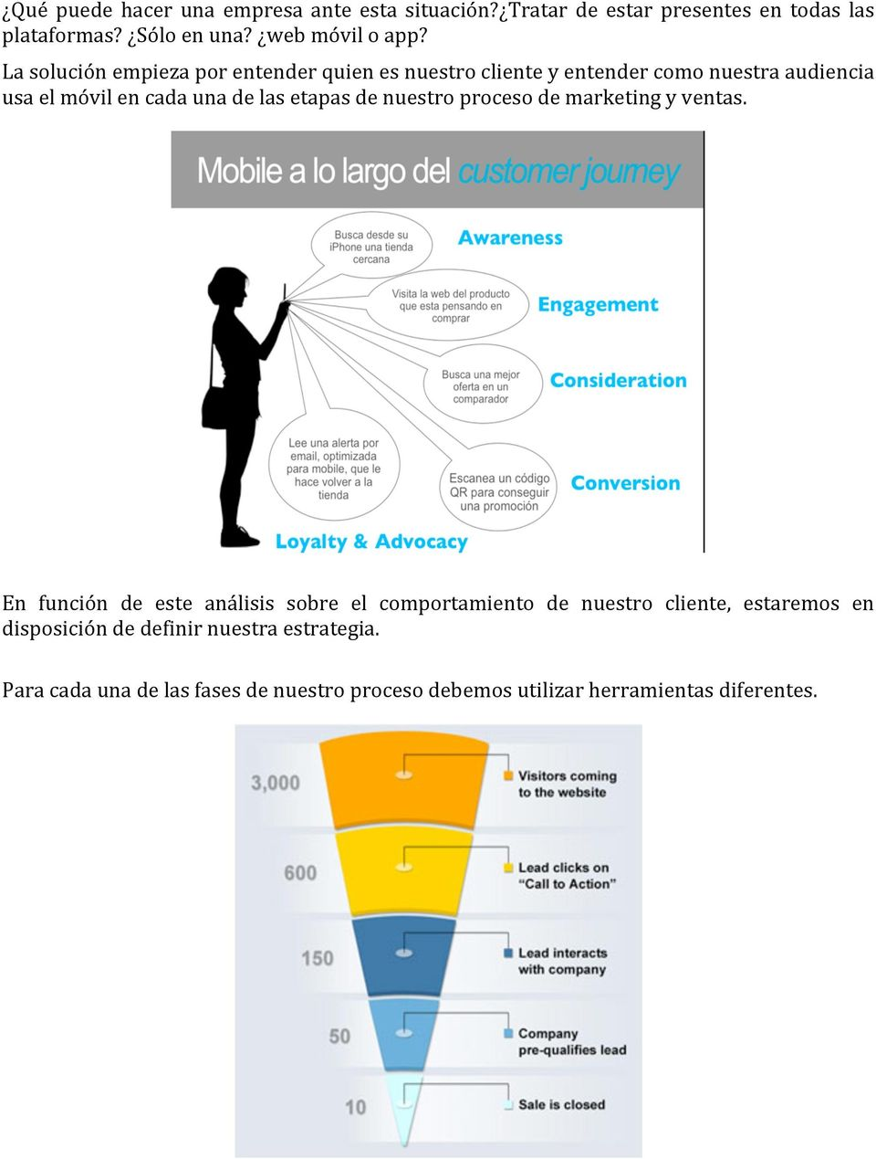 etapas de nuestro proceso de marketing y ventas.