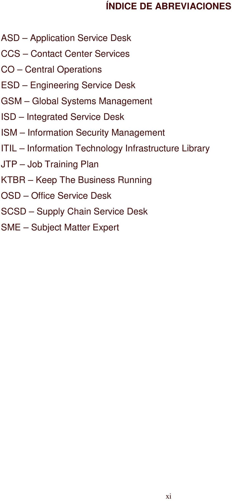 Security Management ITIL Information Technology Infrastructure Library JTP Job Training Plan KTBR Keep