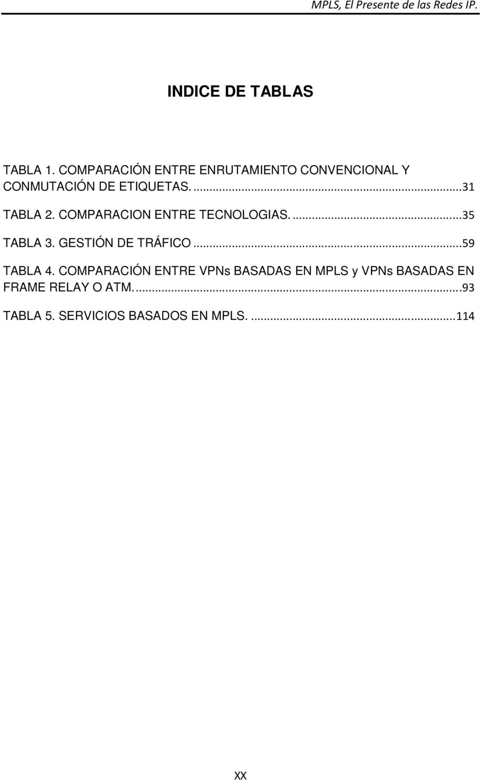 ... 31 TABLA 2. COMPARACION ENTRE TECNOLOGIAS.... 35 TABLA 3.
