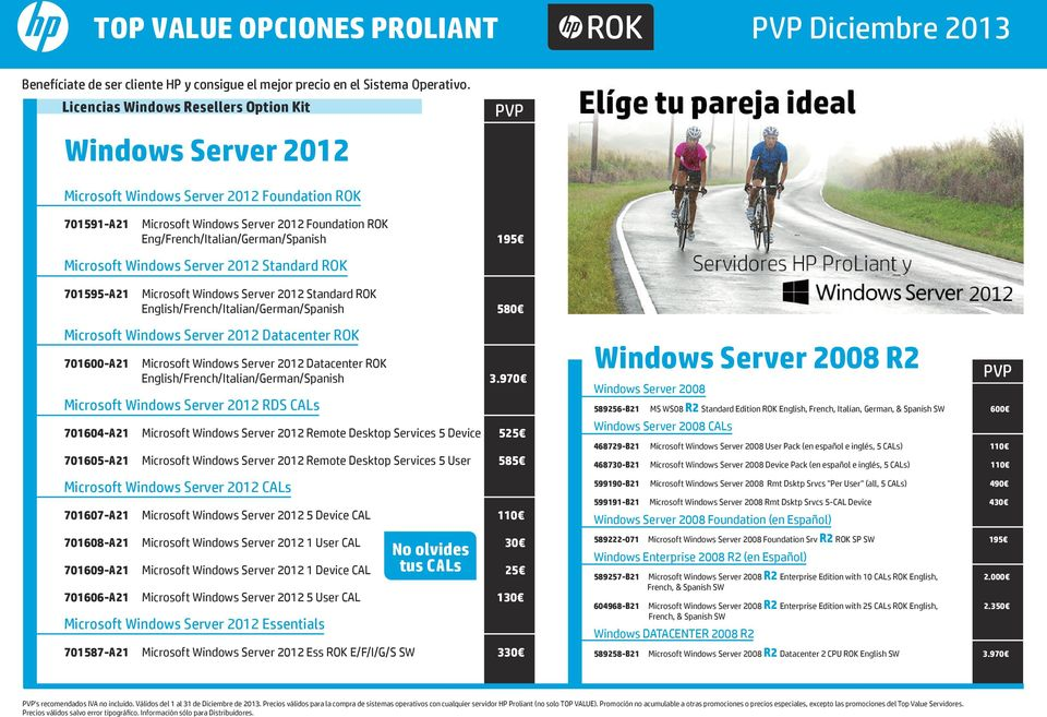 195 Microsoft Windows Server 2012 Standard ROK 701595-A21 Microsoft Windows Server 2012 Standard ROK English/French/Italian/German/Spanish 580 Microsoft Windows Server 2012 Datacenter ROK 701600-A21