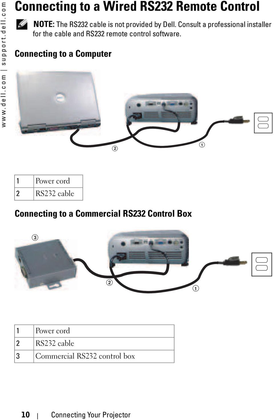 com Connecting to a Wired RS232 Remote Control NOTE: The RS232 cable is not provided by Dell.