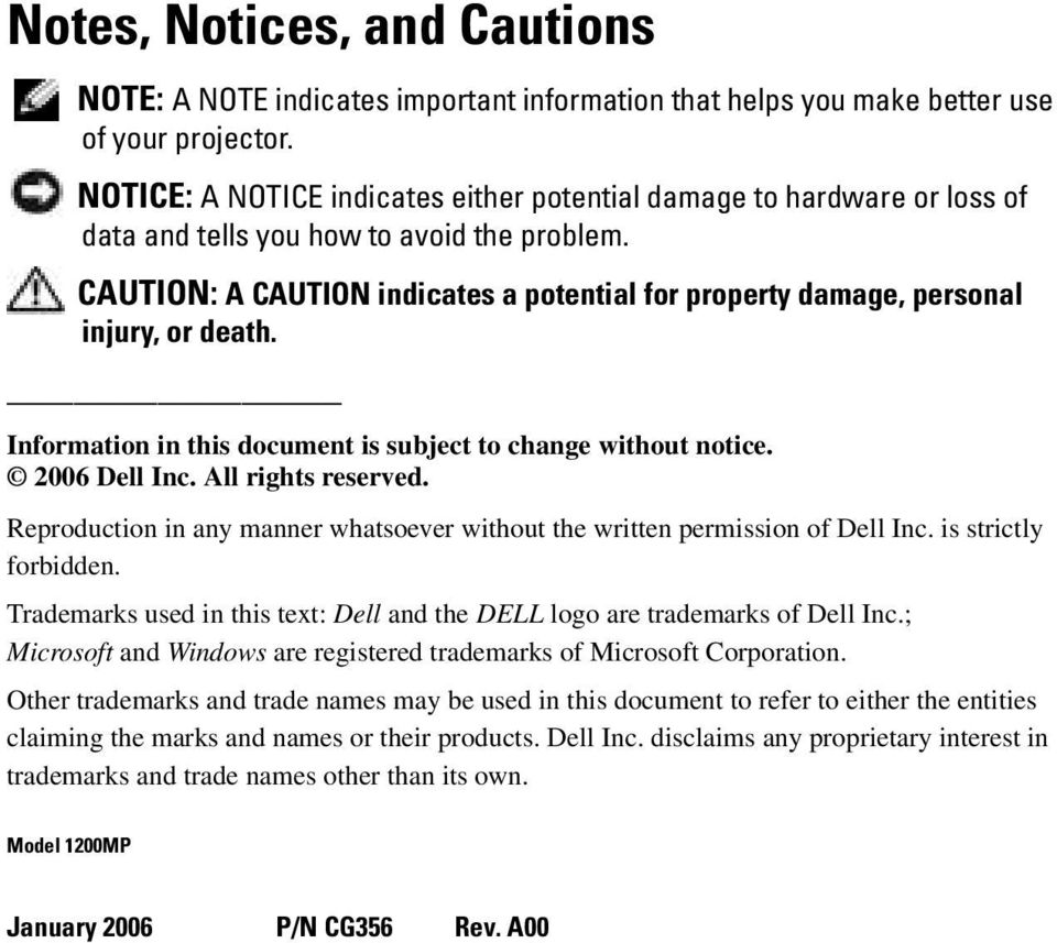 CAUTION: A CAUTION indicates a potential for property damage, personal injury, or death. Information in this document is subject to change without notice. 2006 Dell Inc. All rights reserved.