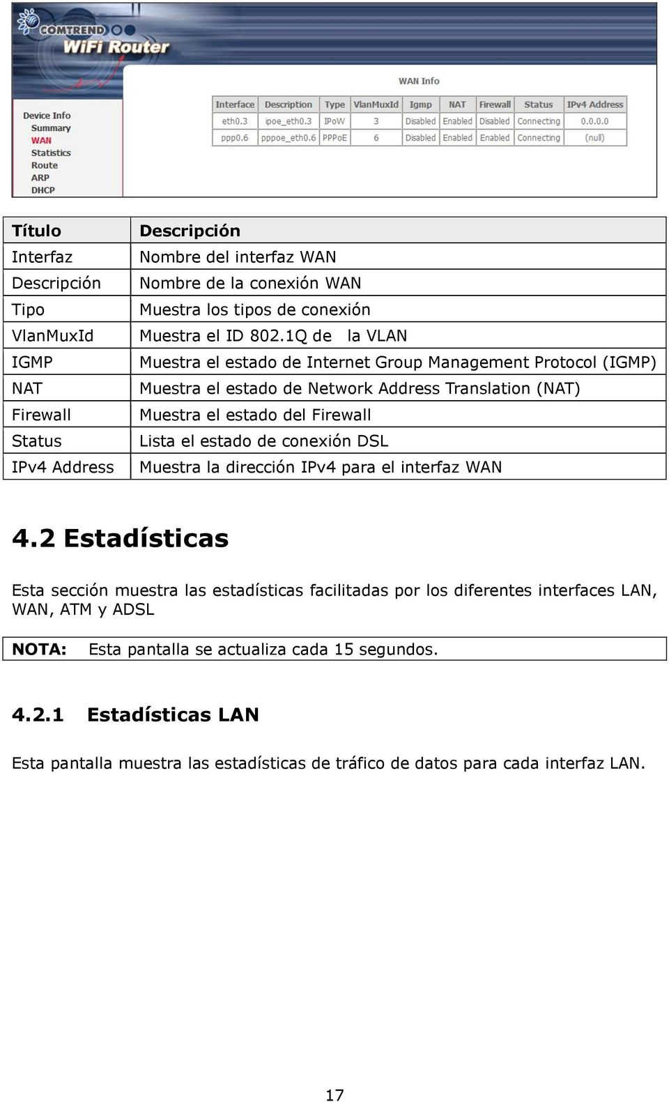 1Q de la VLAN Muestra el estado de Internet Group Management Protocol (IGMP) Muestra el estado de Network Address Translation (NAT) Muestra el estado del Firewall Lista el