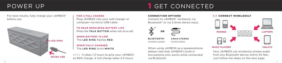 TM OR PHONES LAPTOPS LED RING MICRO USB WHEN BATTERY IS LOW The LED RING flashes RED. WHEN FULLY CHARGED The LED RING turns WHITE. NOTE It takes 1.5 hours to give your JAMBOX an 80% charge.