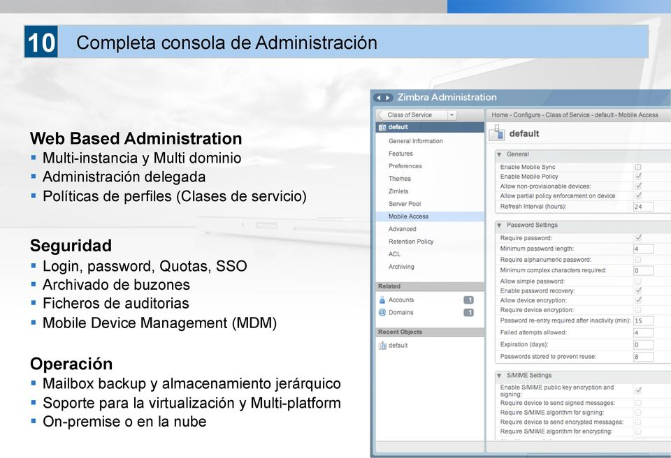 Quotas, SSO Archivado de buzones Ficheros de auditorias Mobile Device Management (MDM) Operación