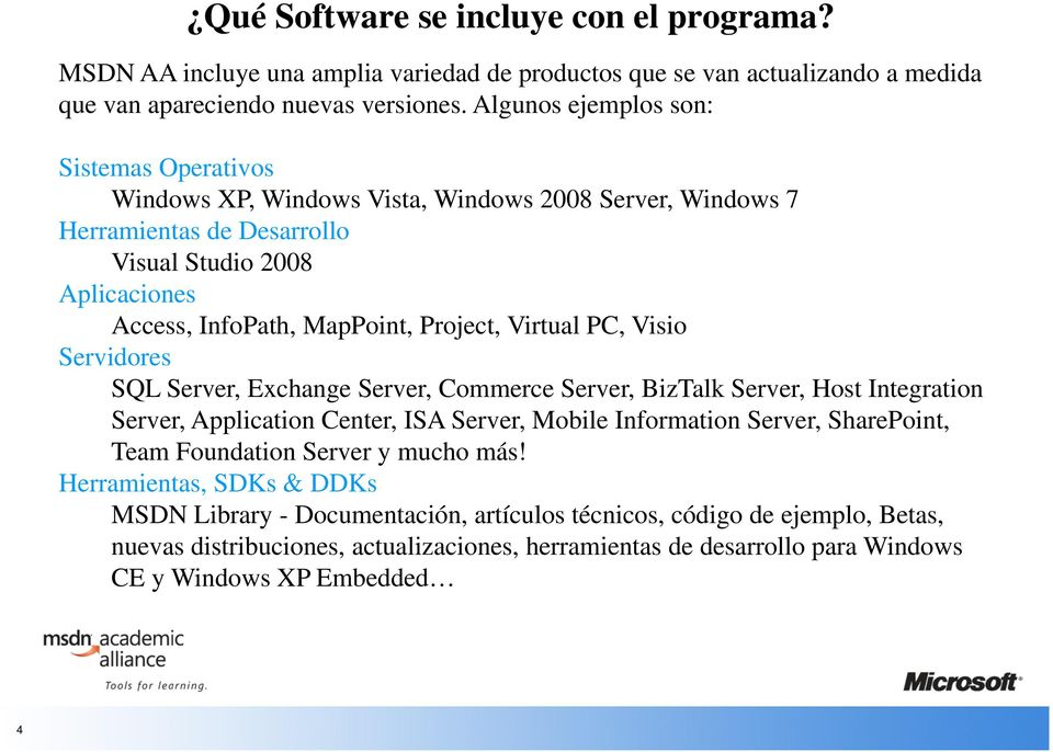 Virtual PC, Visio Servidores SQL Server, Exchange Server, Commerce Server, BizTalk Server, Host Integration Server, Application Center, ISA Server, Mobile Information Server, SharePoint, Team