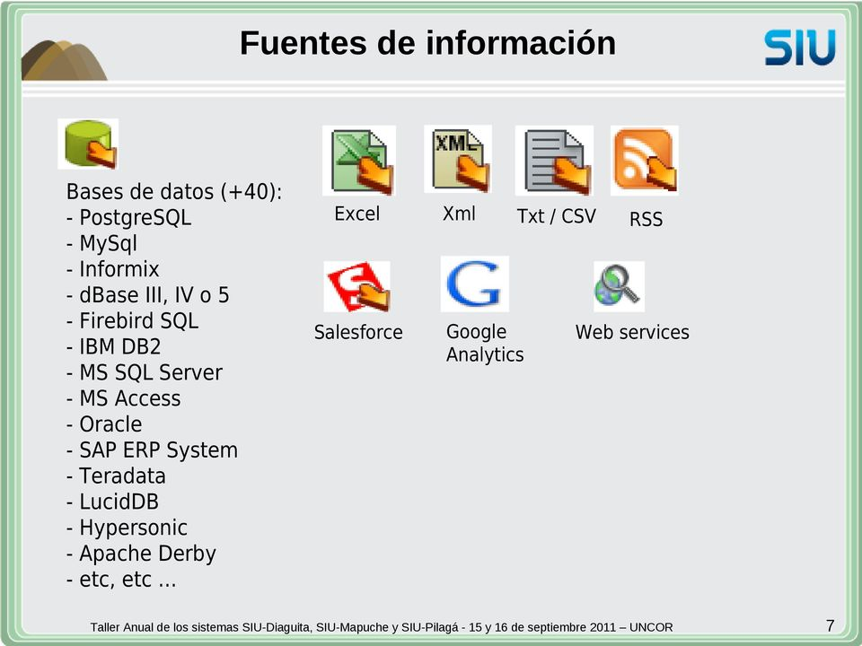 Oracle - SAP ERP System - Teradata - LucidDB - Hypersonic - Apache Derby -