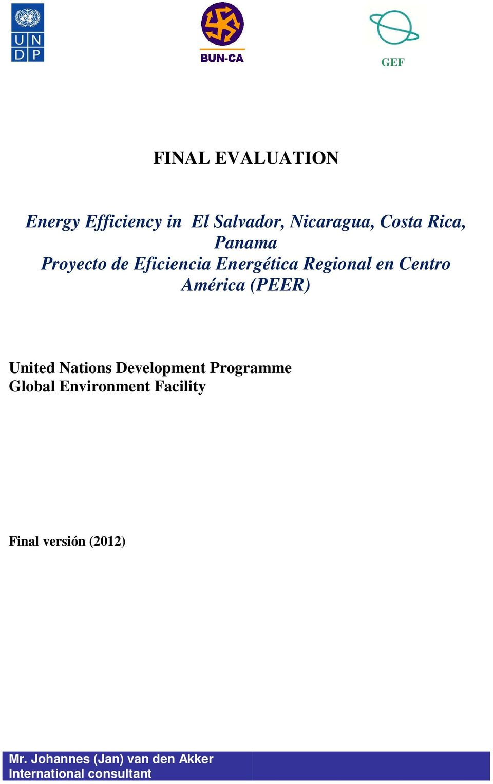 (PEER) United Nations Development Programme Global Environment Facility