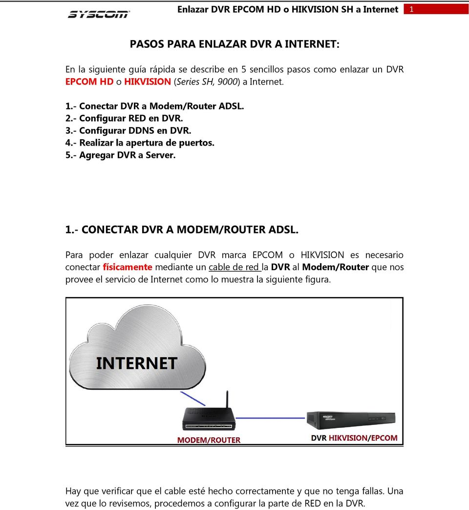 - CONECTAR DVR A MODEM/ROUTER ADSL.