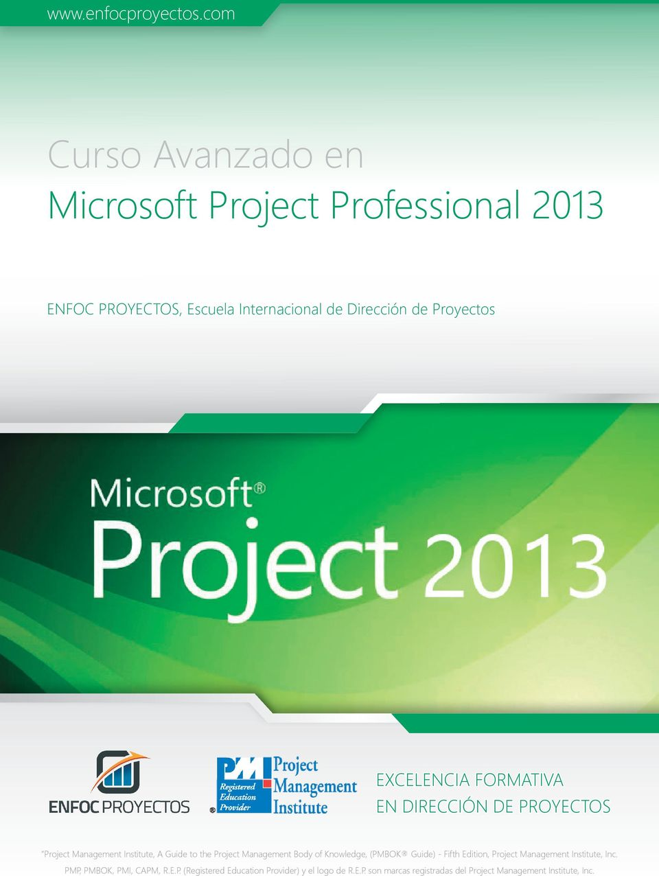 Proyectos EXCELENCIA FORMATIVA EN DIRECCIÓN DE PROYECTOS Project Management Institute, A Guide to the Project Management