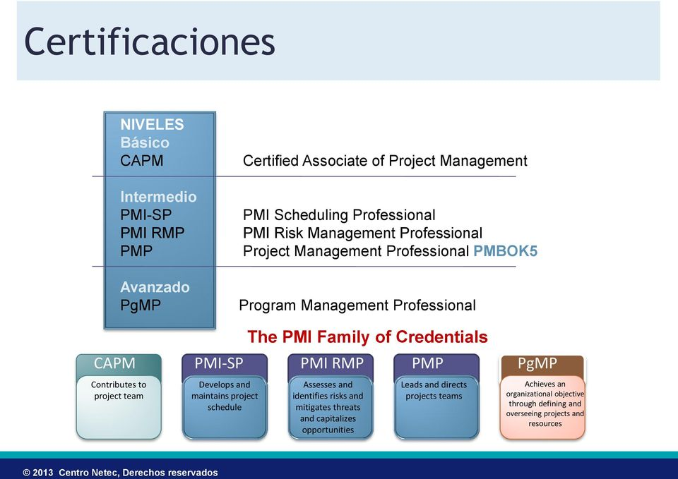 PMP PgMP Contributes to project team Develops and maintains project schedule The PMI Family of Credentials Assesses and identifies risks and mitigates