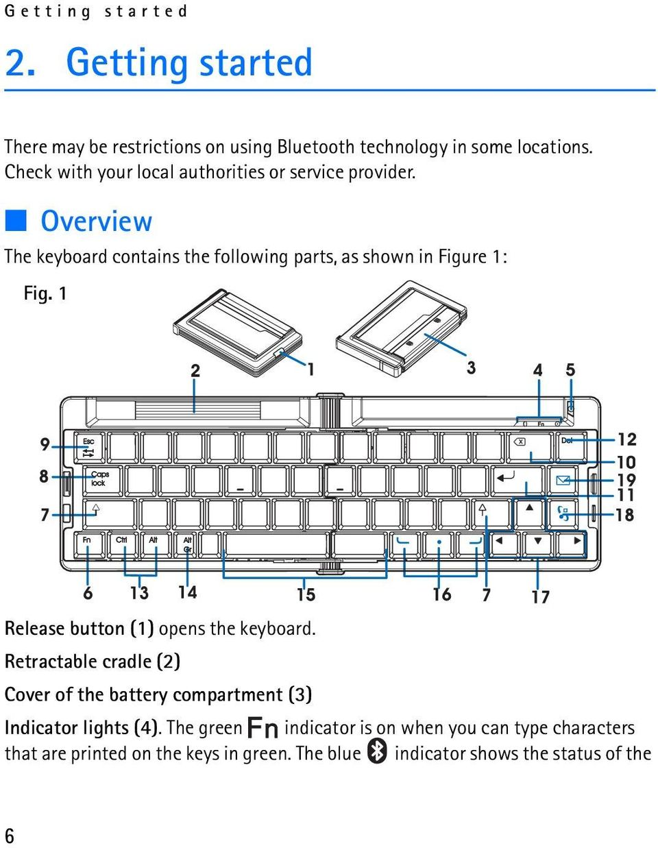 Overview The keyboard contains the following parts, as shown in Figure 1: Fig. 1 Release button (1) opens the keyboard.