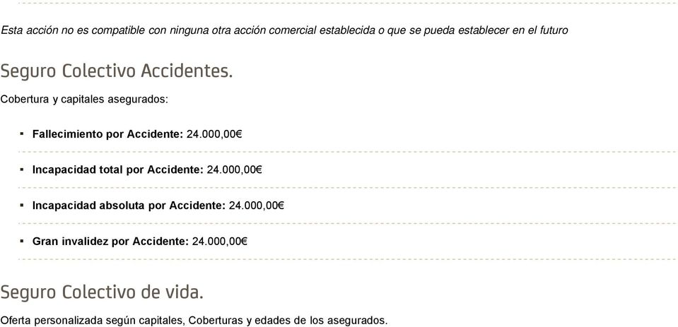 000,00 Incapacidad total por Accidente: 24.000,00 Incapacidad absoluta por Accidente: 24.
