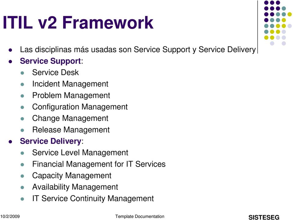 Management Release Management Service Delivery: Service Level Management Financial