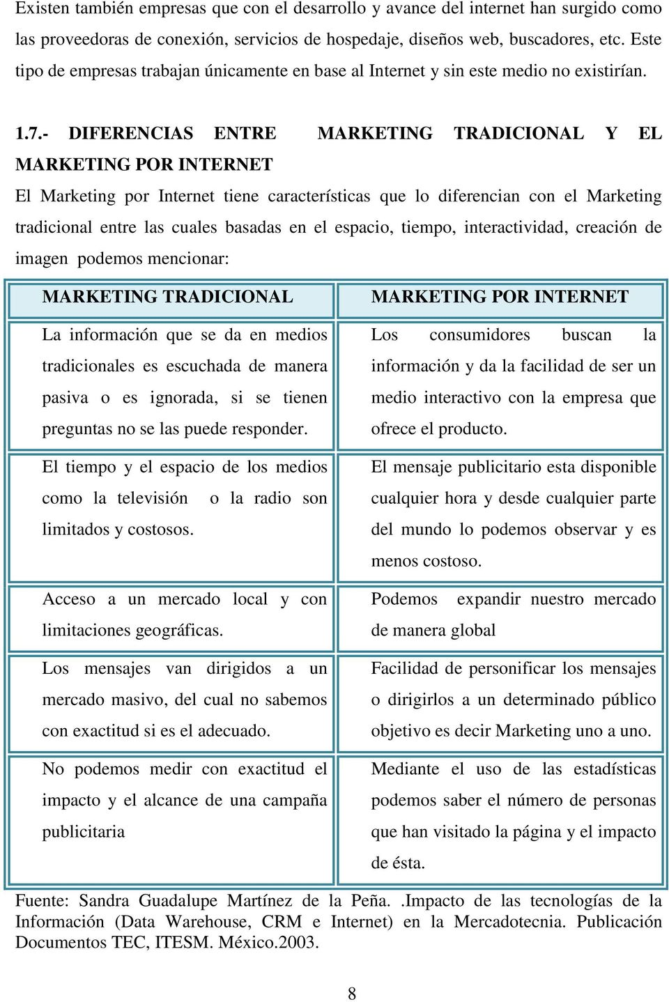 - DIFERENCIAS ENTRE MARKETING TRADICIONAL Y EL MARKETING POR INTERNET El Marketing por Internet tiene características que lo diferencian con el Marketing tradicional entre las cuales basadas en el