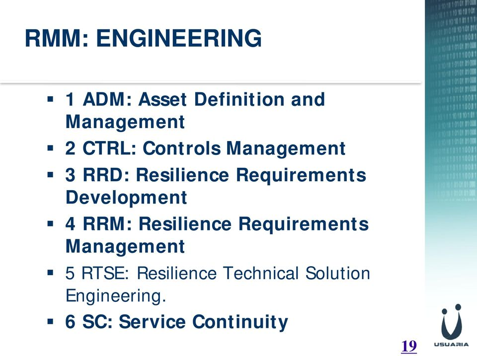 Development 4 RRM: Resilience Requirements Management 5 RTSE: