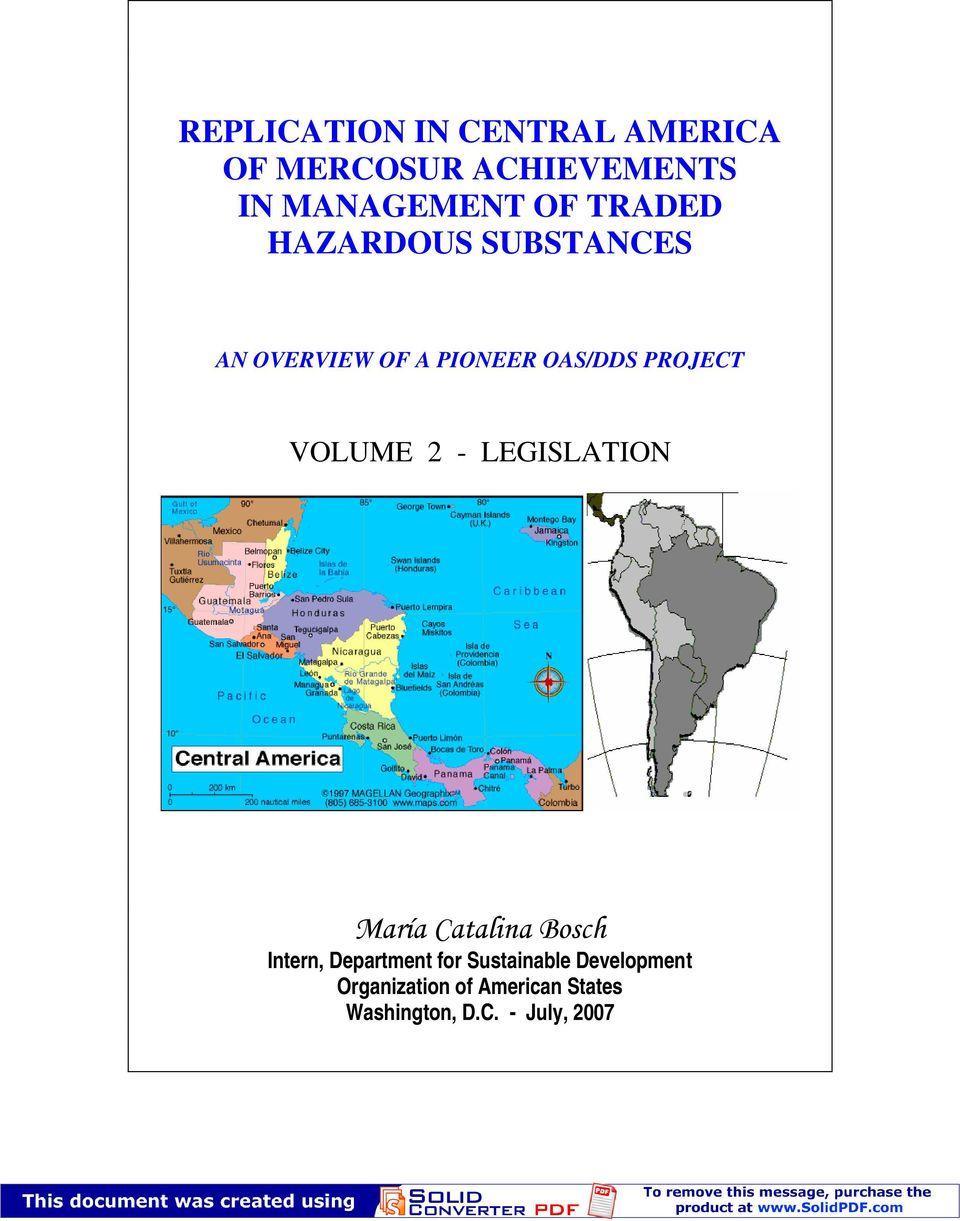 OAS/DDS PROJECT VOLUME 2 - LEGISLATION Intern, Department for