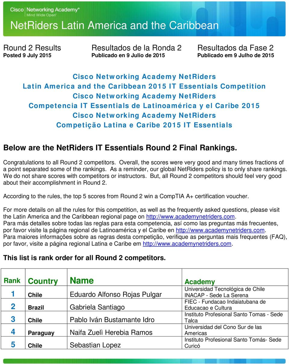 Academy NetRiders Competição Latina e Caribe 2015 IT Essentials Below are the NetRiders IT Essentials Round 2 Final Rankings. Congratulations to all Round 2 competitors.