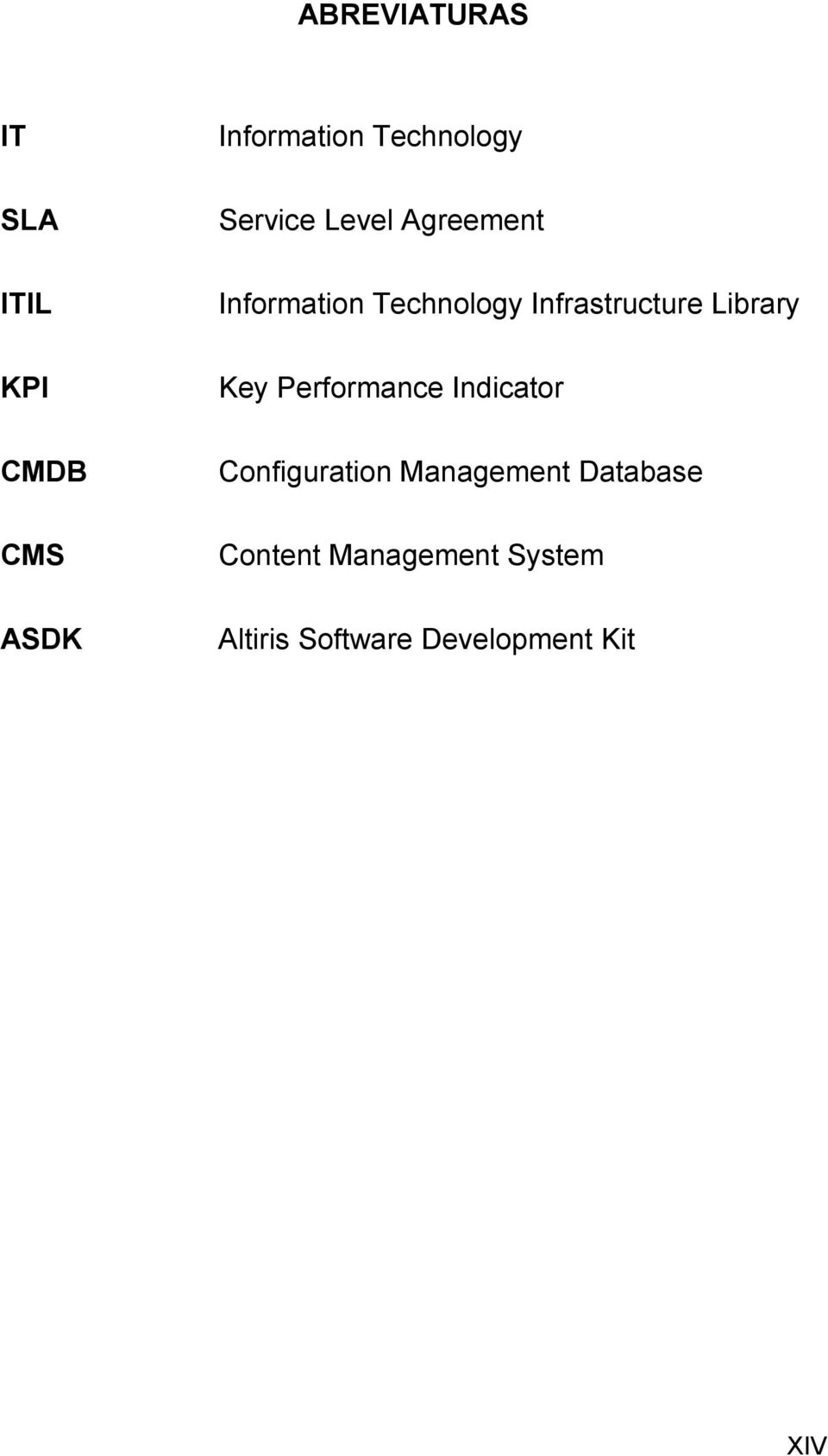 Infrastructure Library Key Performance Indicator Configuration