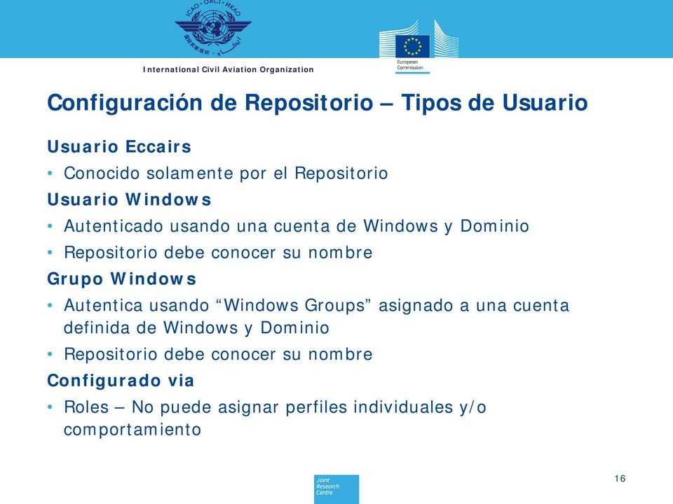 Grupo Windows Autentica usando Windows Groups asignado a una cuenta definida de Windows y Dominio