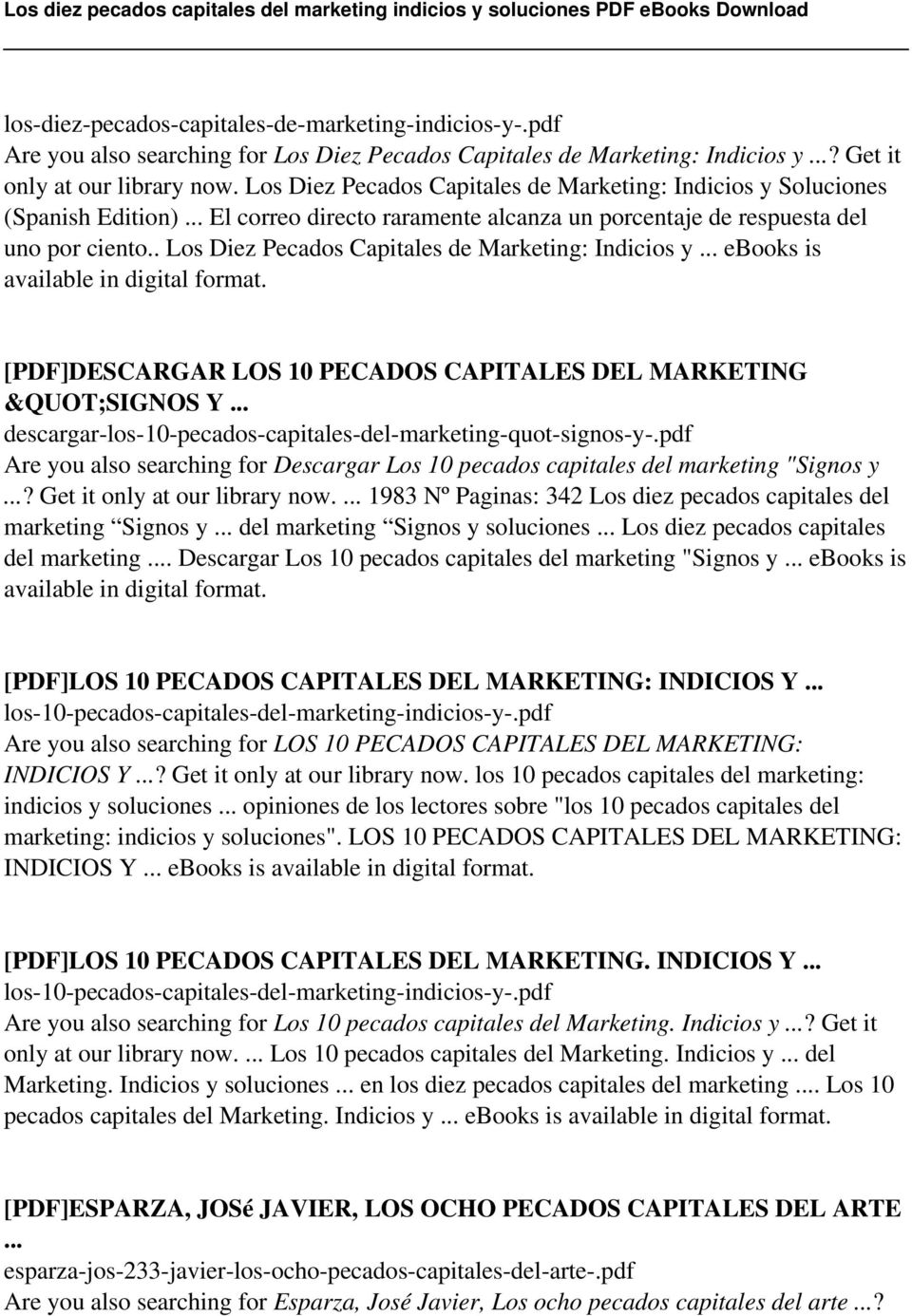 ". Los Diez Pecados Capitales de Marketing: Indicios y... ebooks is [PDF]DESCARGAR LOS 10 PECADOS CAPITALES DEL MARKETING ""SIGNOS Y."