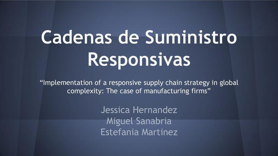 complexity: The case of manufacturing firms