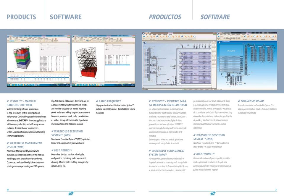 System Logistics offers several material handling software applications: Warehouse Management System (WMS) Warehouse Management System (WMS) manages and integrates control of the material handling
