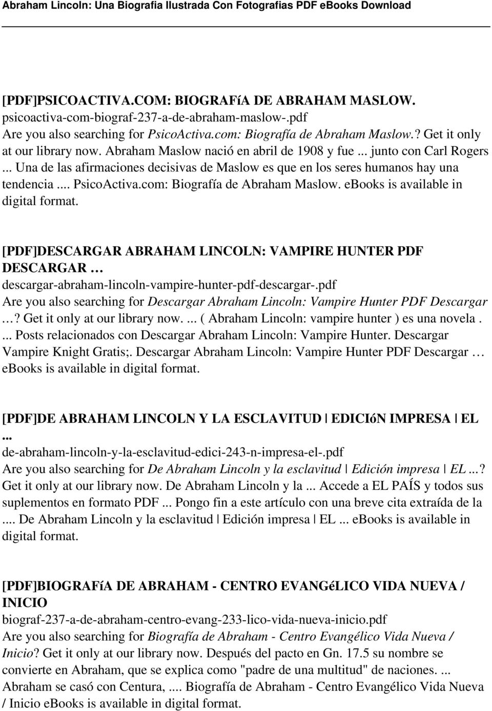 .. PsicoActiva.com: Biografía de Abraham Maslow. ebooks is available in [PDF]DESCARGAR ABRAHAM LINCOLN: VAMPIRE HUNTER PDF DESCARGAR descargar-abraham-lincoln-vampire-hunter-pdf-descargar-.