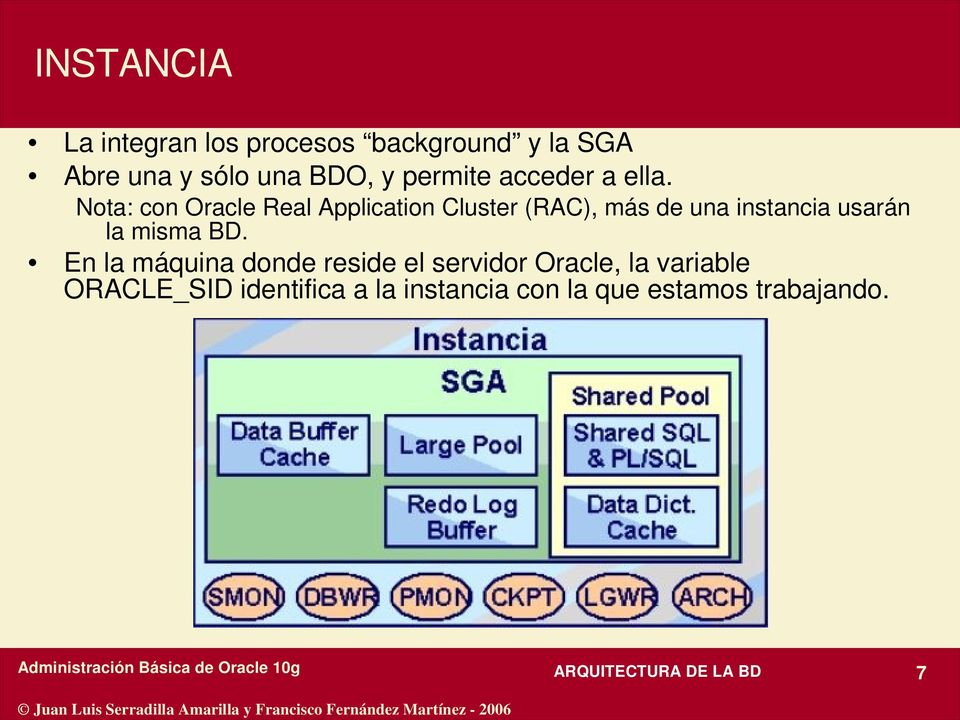 Nota: con Oracle Real Application Cluster (RAC), más de una instancia usarán la misma