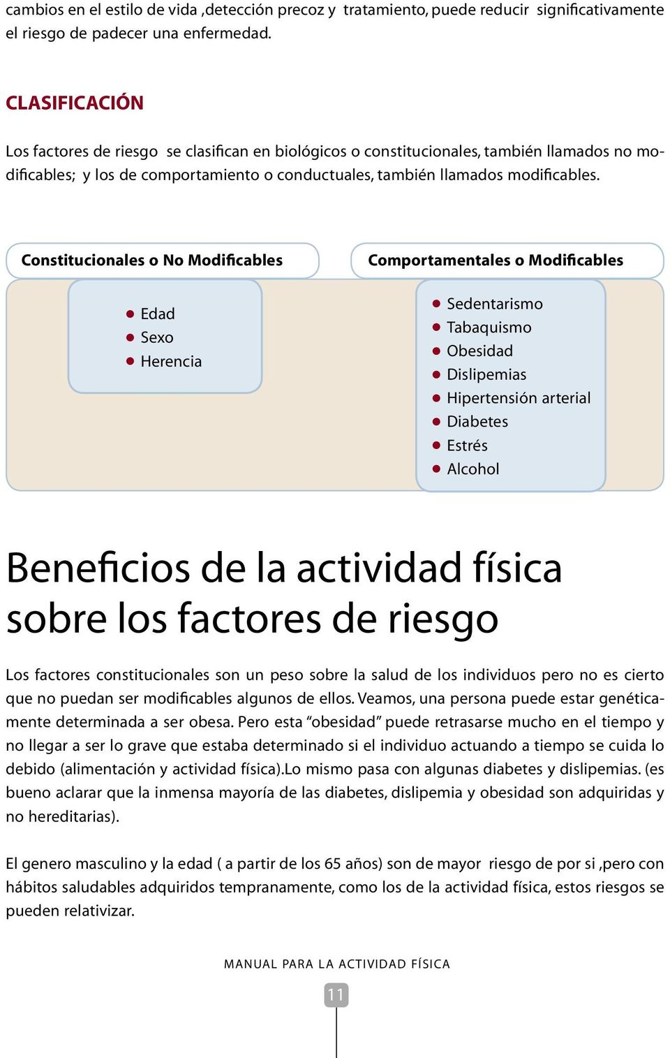 Constitucionales o No Modificables Edad Sexo Herencia Comportamentales o Modificables Sedentarismo Tabaquismo Obesidad Dislipemias Hipertensión arterial Diabetes Estrés Alcohol Beneficios de la