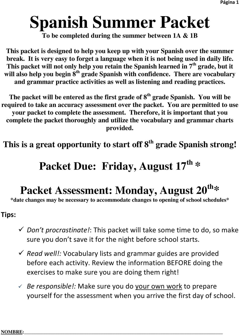 Spanish summer packet pdf this packet will not only help you retain the spanish learned in 7 th grade solutioingenieria Image collections