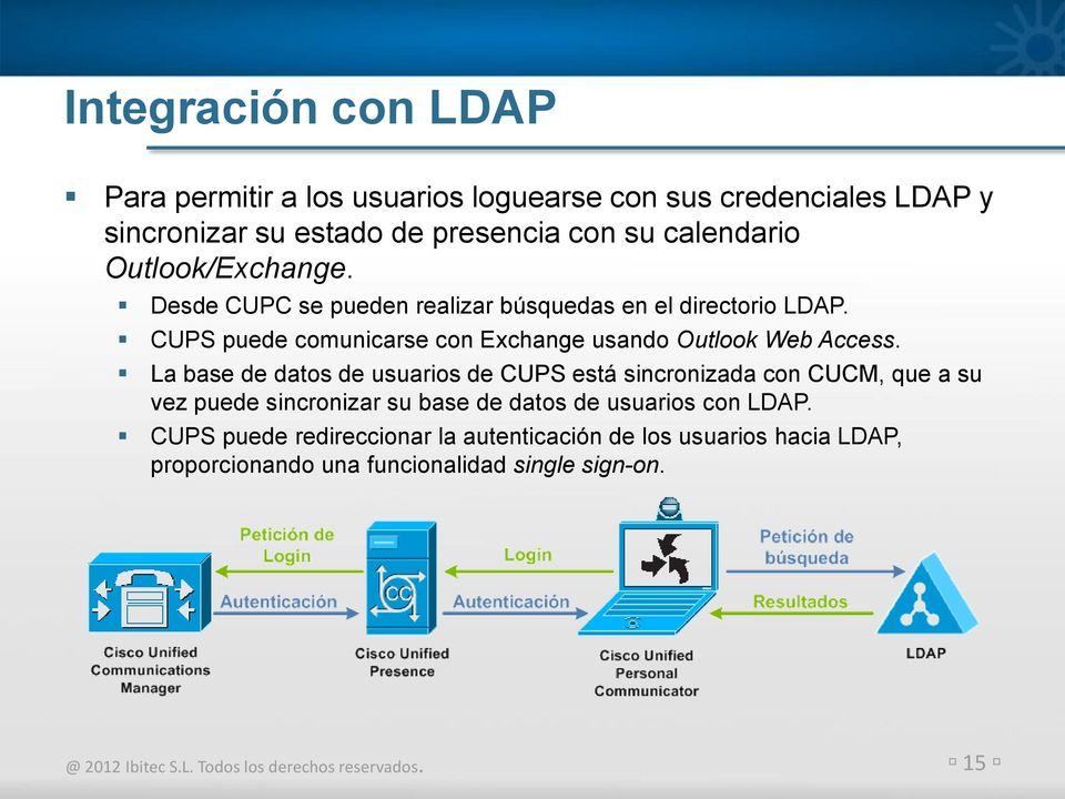 CUPS puede comunicarse con Exchange usando Outlook Web Access.