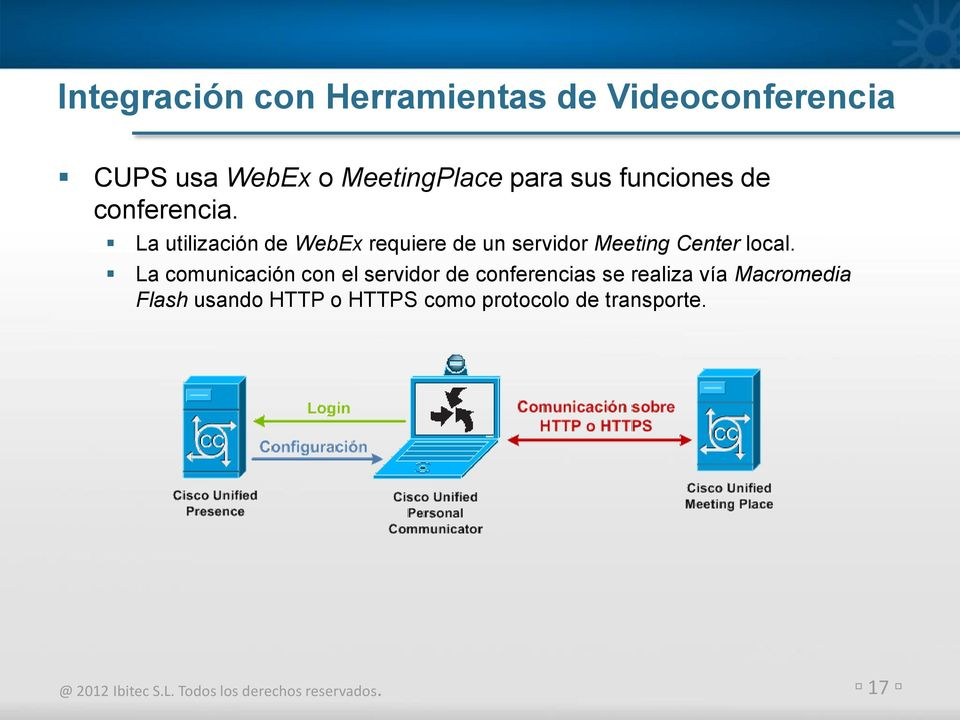 La utilización de WebEx requiere de un servidor Meeting Center local.
