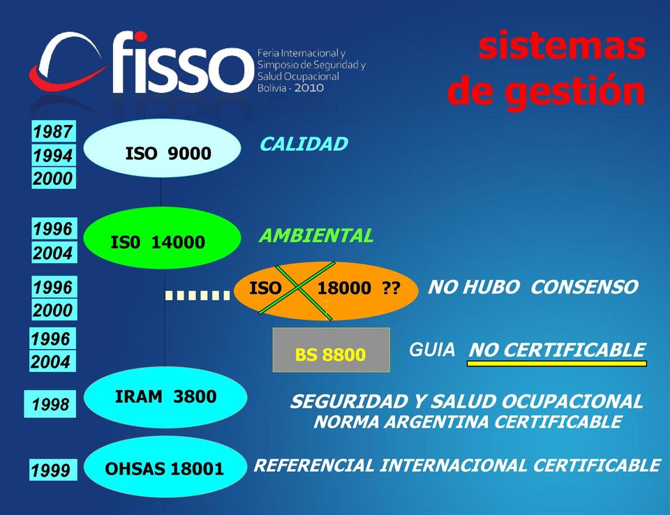 ? BS 8800 NO HUBO CONSENSO GUIA NO CERTIFICABLE 1998 1999 IRAM 3800