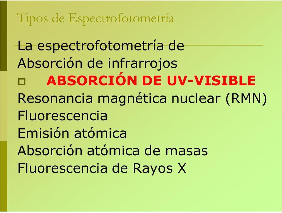 Resonancia magnética nuclear (RMN) Fluorescencia