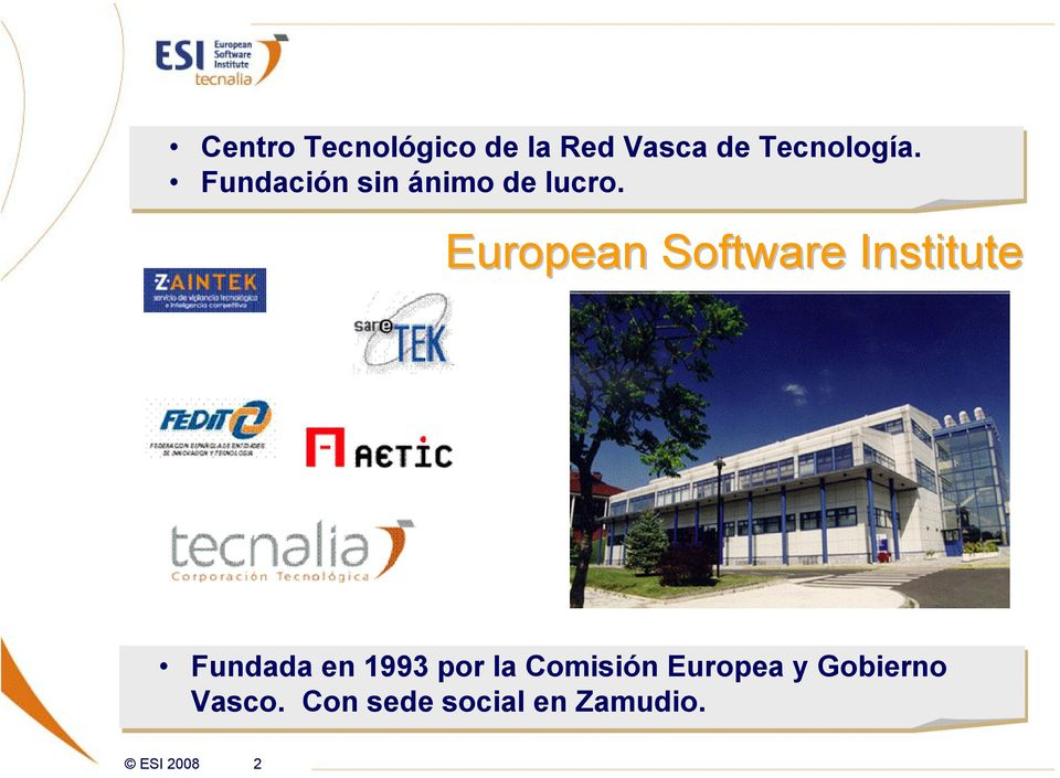 European Software Institute Fundada en 1993 por la