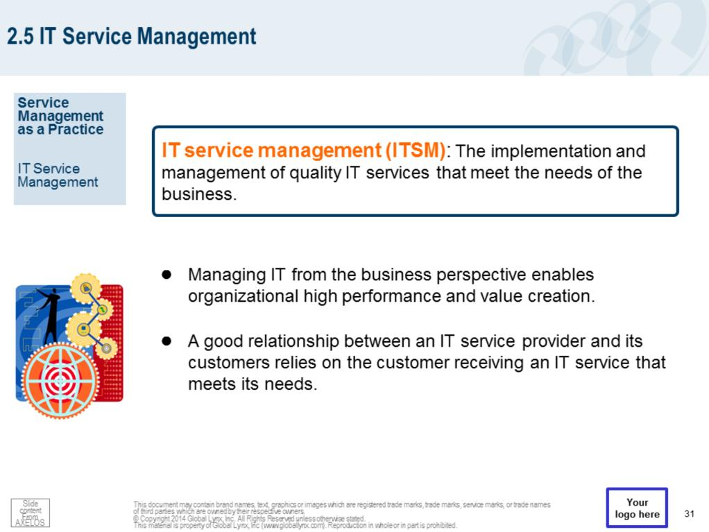 IT service management (ITSM) is performed by IT service providers through an appropriate mix of people, processes and information technology. ITSM must be carried out effectively and efficiently.