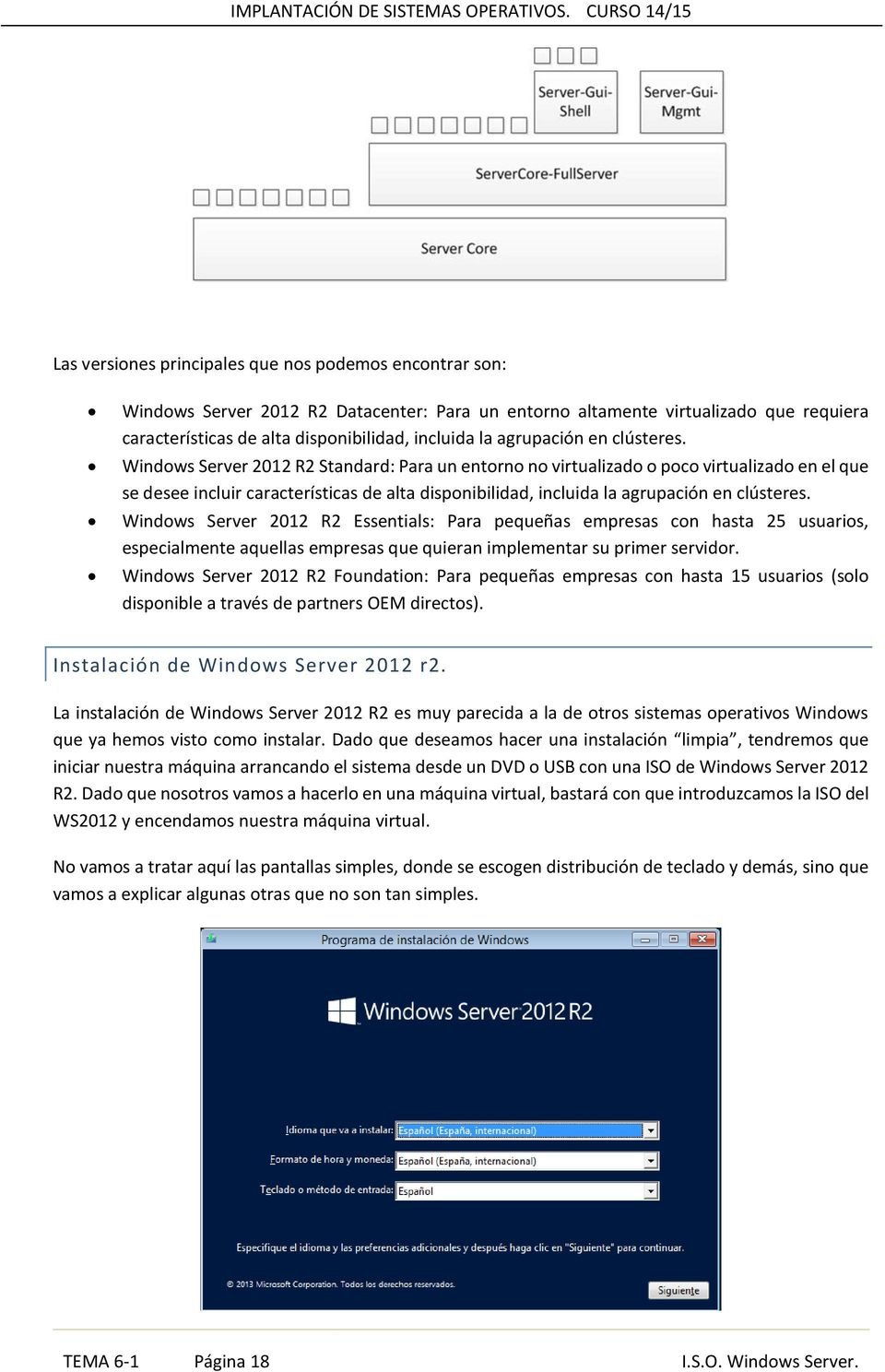 Windows Server 2012 R2 Standard: Para un entorno no virtualizado o poco virtualizado en el que se desee incluir características de alta disponibilidad, incluida la  Windows Server 2012 R2 Essentials: