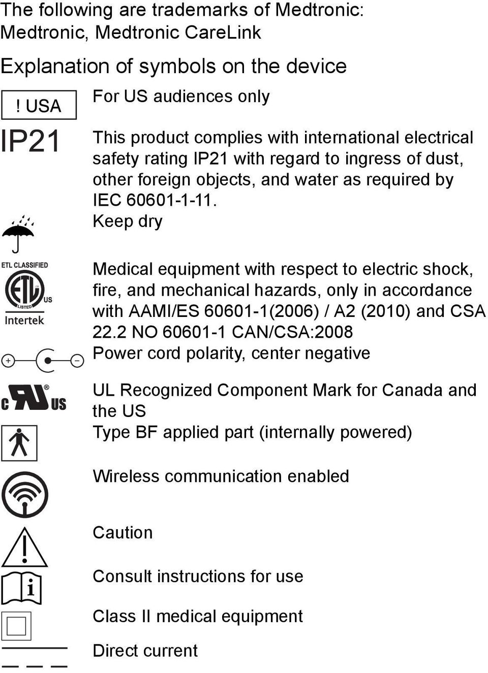 Keep dry Medical equipment with respect to electric shock, fire, and mechanical hazards, only in accordance with AAMI/ES 60601-1(2006) / A2 (2010) and CSA 22.