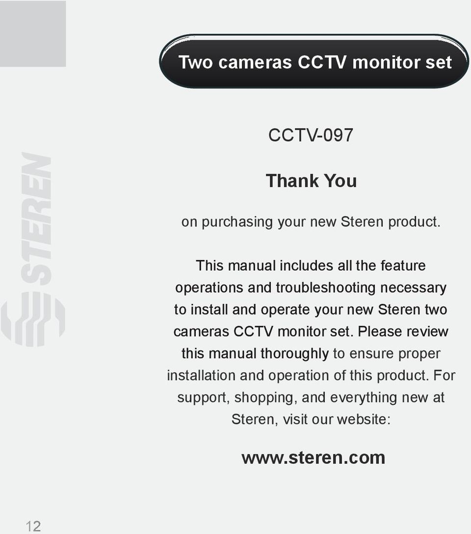 new Steren two cameras CCTV monitor set.
