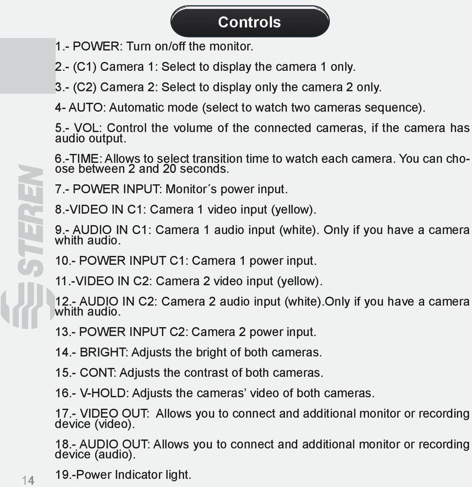 -TIME: Allows to select transition time to watch each camera. You can choose between 2 and 20 seconds. 7.- POWER INPUT: Monitor s power input. 8.-VIDEO IN C1: Camera 1 video input (yellow). 9.
