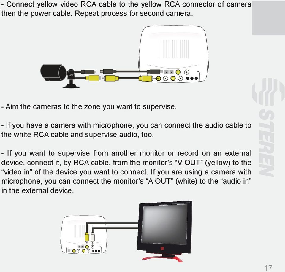 - If you have a camera with microphone, you can connect the audio cable to the white RCA cable and supervise audio, too.