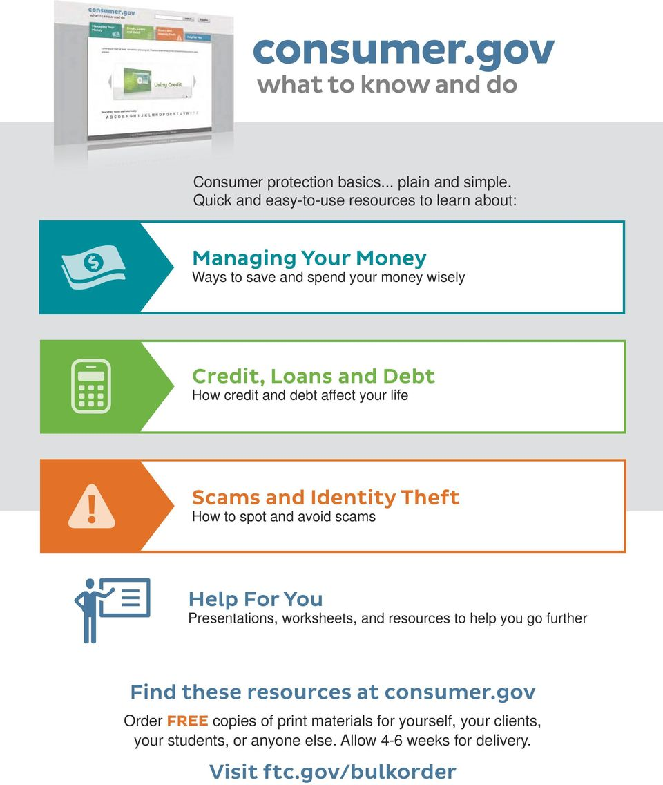 credit and debt affect your life Scams and Identity Theft How to spot and avoid scams Help For You Presentations, worksheets, and resources